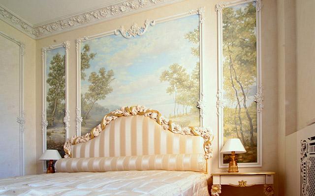 Лепнина в интерьере на стенах фото