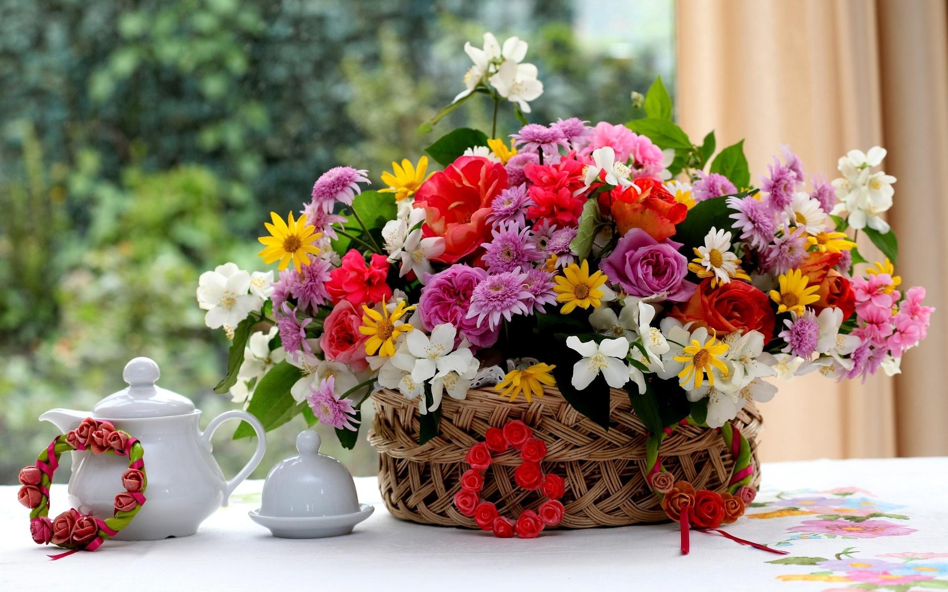Летние букеты цветов картинки