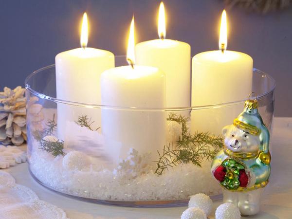 Новогодняя композиция из свечей своими руками